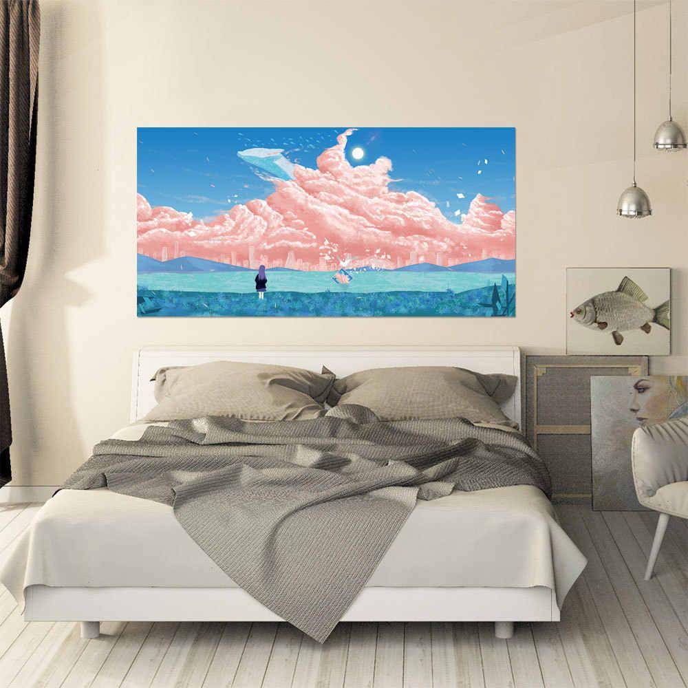 3D наклейка на изголовье небо девушка речной пляж любовь под звездами кампус окно на крыше Декор для дома, с изображением кота бумага настенной пасты 90x180 см