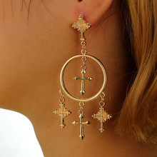 Europe and the United States retro exaggerated earrings carved cross circle hanging earrings ladies large long earrings jewelry europe and the united states simple fashion men and women smooth face earrings cross shaped retro silver gold cross earrings