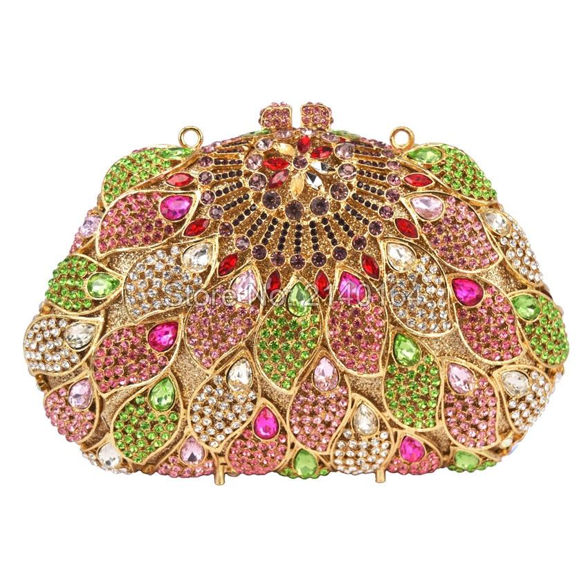 Crystal Purse 2016 New Style Party Bag Stones Rhinestones Diamond Evening Wedding Box Clutch Handbag Metal Clutches Bag 88411
