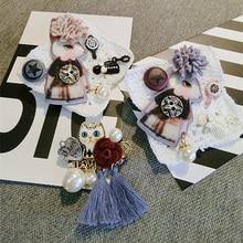 Korea Handmade Vintage Cartoon Rabbit Cat Tassel Pearl Badge Brooches Pins Fashion Jewelry For Woman Accessories-JQGWBH011E