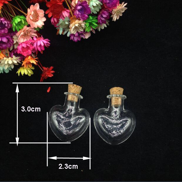 50pcs Clear Vial Mini Heart Shape Glass Jars Wishing Bottle With