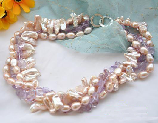 Perfect Handmade Luck Jewellery,4Rows 18inches Pink Baroque Rice Biwa Pearl Ame-thyst Necklace