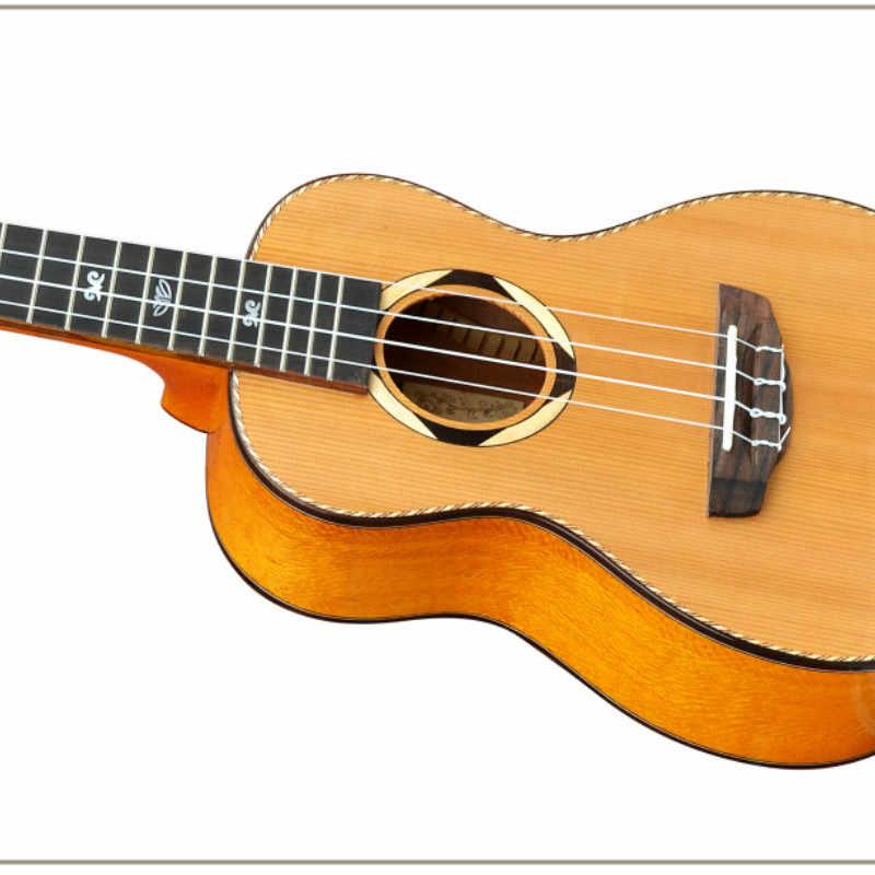 อูคูเลเล่ 24 นิ้ว Cedar Mini ไฟฟ้า Concert Acoustic กีตาร์ 4 Strings Ukulele กีต้าร์ติดตั้งรถกระบะ Highgloss สีไม้