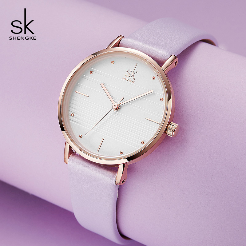 Shengke Femmes Montres Top Marque De Luxe Quartz Montre Femme Montre-Bracelet En Cuir Reloj Mujer 2018 New SK Dames Montres # K8007