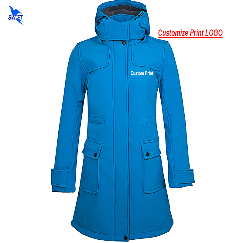 Custom Print Windbreaker Waterproof Long Softshell Jacket Women Hiking Camping Hooded Coat Outdoor Sports Fleece Skiing Clothing