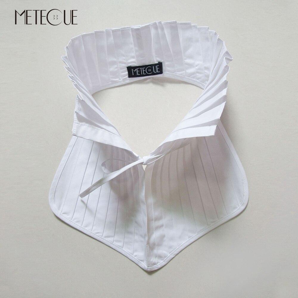 Британский стиль плиссированные со шнуровкой поддельные рубашка с воротником Для женщин мода стоять съемный воротник белый и черный ложны...