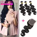 Vip Beauty Hair Body Wave With Closure 4 Piece Bundles Body Wave Brazilian Hair Natural Black 3 Bundles With Silk Lace Colsure