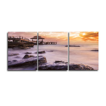 3 Panel Sea Scenery Sunshine Poster Wall Art Vintage Canvas Oil Painting for Living Room Wedding Home Decor No Frame(China)