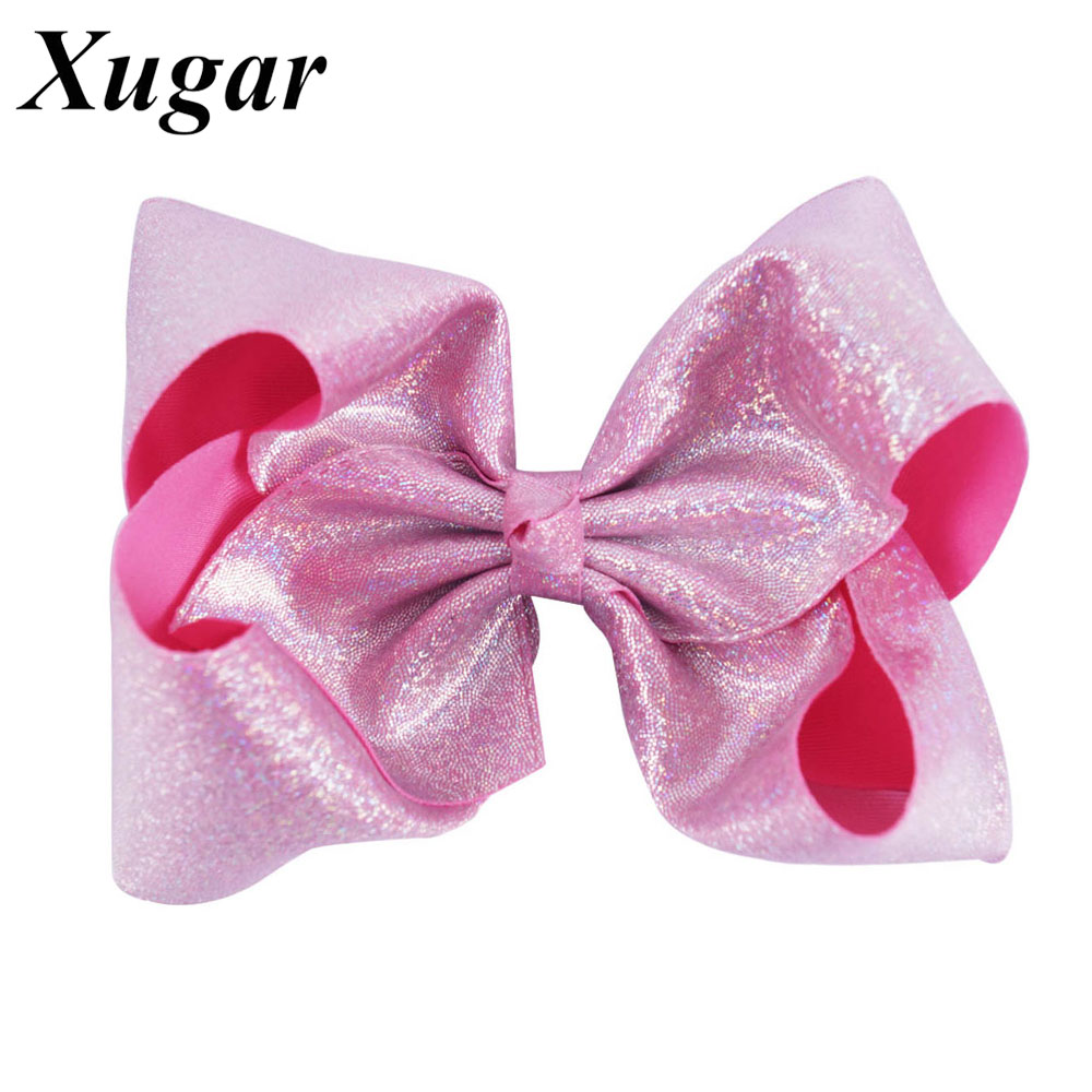 7 Inch Dance Party Girls' Large Hair Bow with Clip Boutique Bowknot Hairgrips For Children Christmas Gift Hair Accessories pretty girls boutique shining glitter bow hair bands for dance party children toddler hair accessories