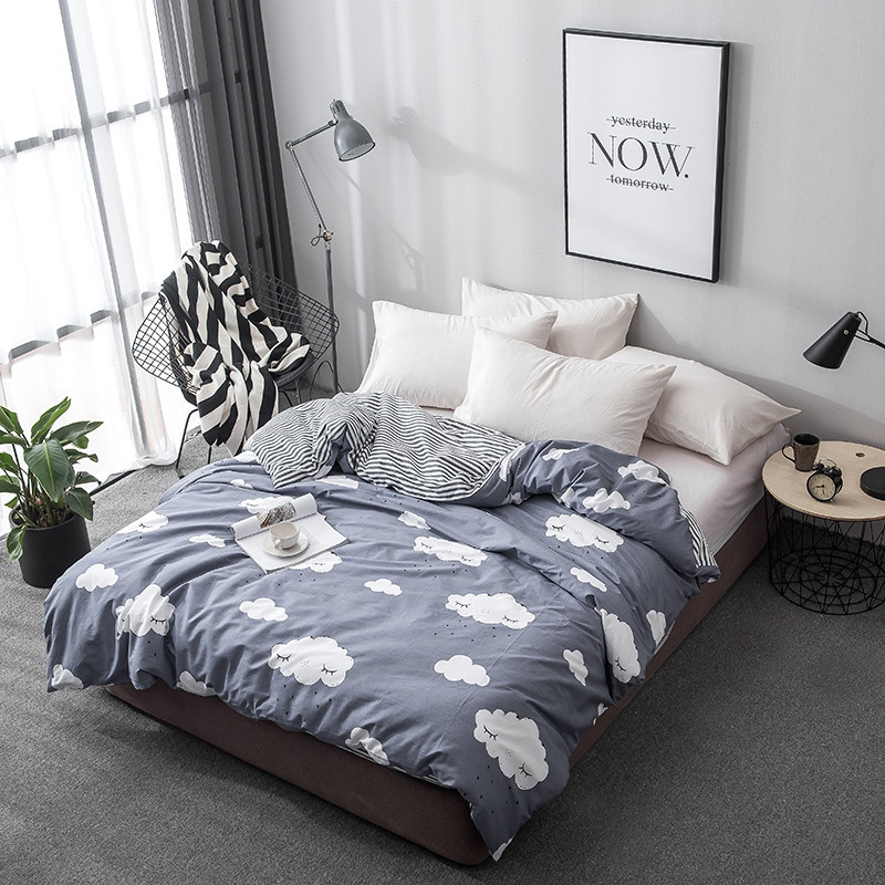 New 1pcs Sky white clouds stripes Environmental Printing Dyeing Soft Duvet Cover 100%Cotton Home-textile twin queen king sizeNew 1pcs Sky white clouds stripes Environmental Printing Dyeing Soft Duvet Cover 100%Cotton Home-textile twin queen king size