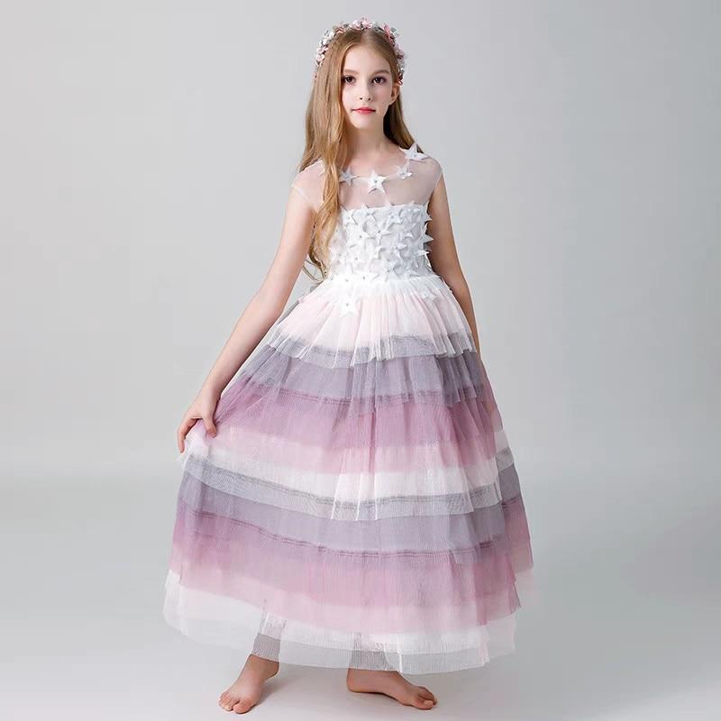 Children Girls Luxury Birthday Wedding Party Tiered Princess Mesh Long Dress Kids Model Show Catwalk Piano Host Pageant Dress цены онлайн