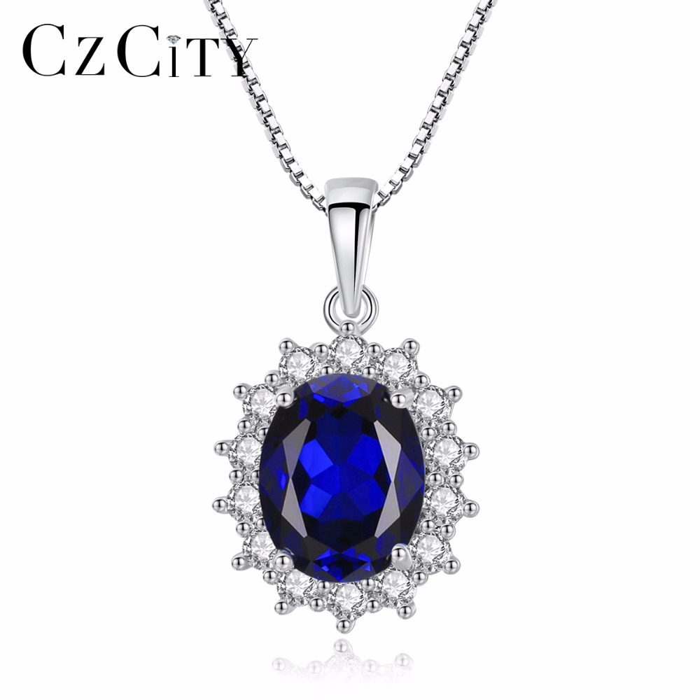 CZCITY Charms Chain Necklace Oval Princess Diana William Sapphire Blue Diamond 925 Sterling Silver Pendant Necklace for Women