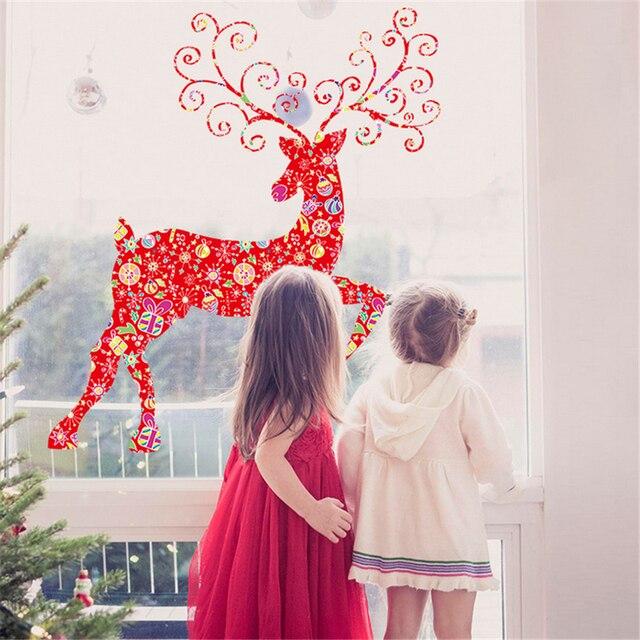 Красный Олень Наклейки Рождественские Украшения Для Дома Фестиваль Home Decor 3D Рождественский Декор Окна Наклейки Новый Год Искусства c380