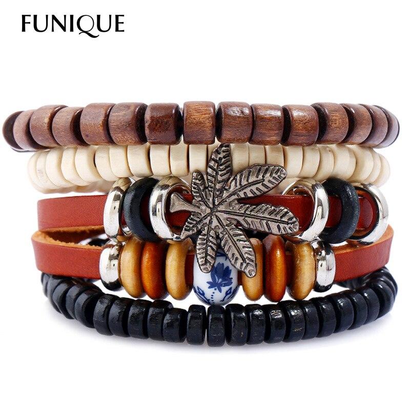 4Pcs/set Punk Style Wood Beaded Maple Leaf Men Bracelet Multilayer Leather Bracelet Wrap Bracelets & Bangles for Women Men