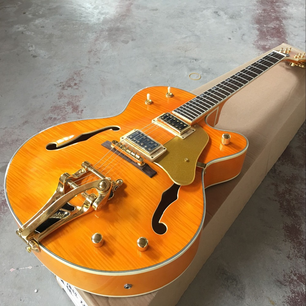 Tiger Flame Jazz Hollow Body Electric Guitar Lp Sunburst Red Guitar Factory From China 930 Always Buy Good Guitar Kind-Hearted 2017 Chinese Factory Custom New