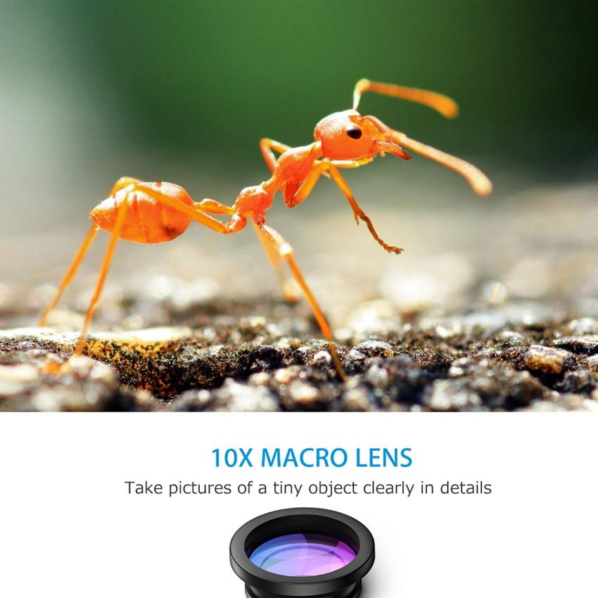 VicTsing 3 In 1 Universal Clip 180 Degree Camera Phone Lens Fisheye Lens+ 10X Macro+ 0.65X Wide Angle Lens Kit for Smartphones 3