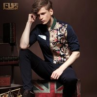 FanZhuan Free Shipping New man's 2015 fashion casual male summer palace turn floral shirt retro slim sleeve shirt 13213 on sale