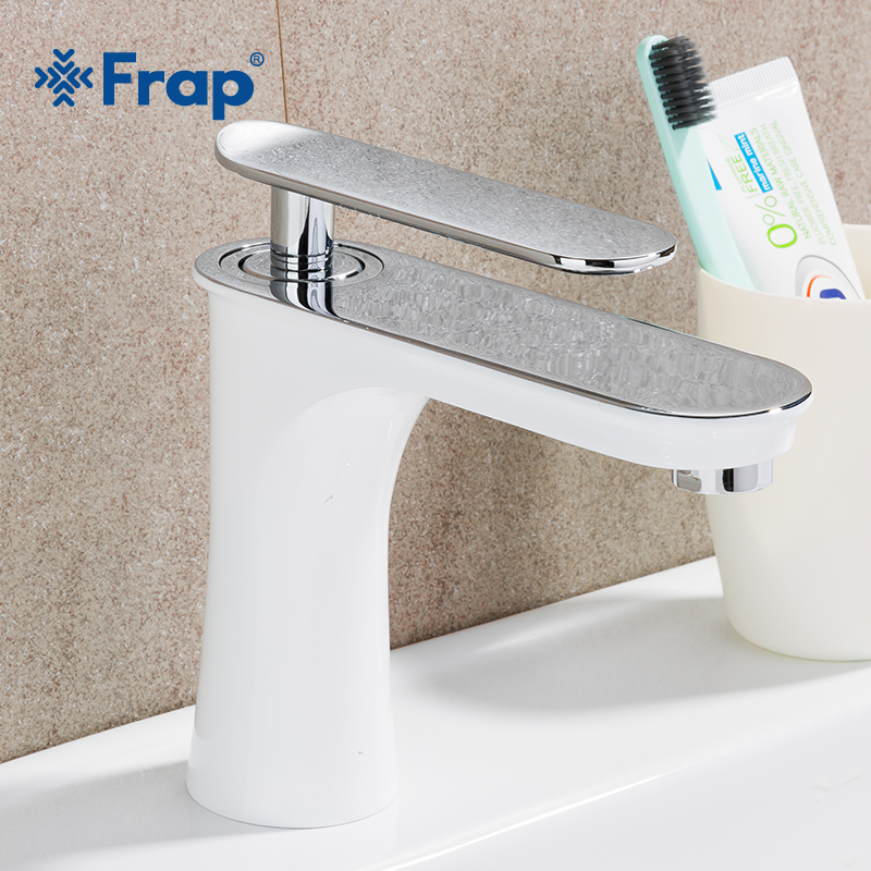 Frap bathroom basin faucet waterfall faucet white faucets - Bathroom sink faucets separate hot and cold ...