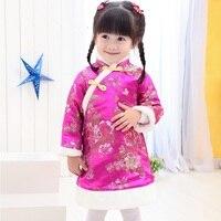 Chinese Girl Dress Kids Chi Pao Cheongsam For Girl Chinese New Year Children Red Winter Dress