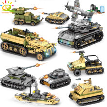 HUIQIBAO TOYS 1061pcs 8in2 Military Tank Building Blocks For Children Legoings WW2 Army Soldier Figure Plane Truck Vehicle brick(China)