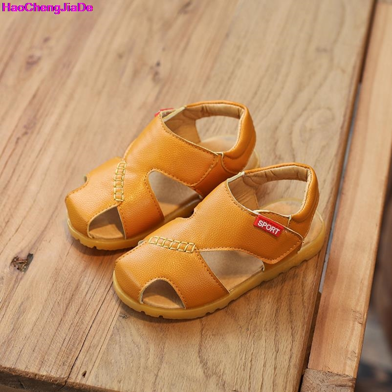 HaoChengJiaDe New Spring Summer Shoes Boys Soft Leather Sandals Baby Boys Summer Prewalker Soft Sole Pu Leather Beach Sandals