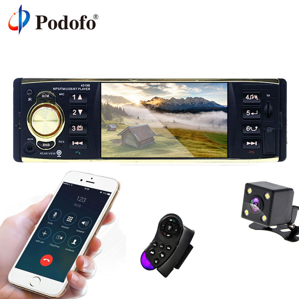 Podofo 4'' TFT Screen 1 Din Car Radio Audio Stereo MP3 Car Audio Player Bluetooth With Rearview Camera Remote Control USB FM