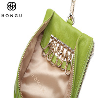 HONGU Ladies Small Handbag Cowhide Leather Car Key Wallet Coin Purse For Women Bag Card Holder Designer Wallet Famous Brand Blue