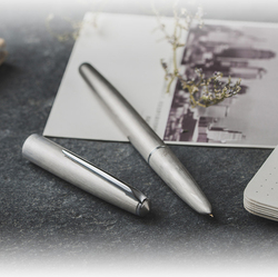 New Hero 100 14K Gold Matte Silver Steel Fountain Pen with Converter Classic Authentic Quality Outstanding Writing Gift Pen Set