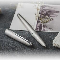 Nuevo héroe 100 14K oro mate plata acero pluma estilográfica con convertidor clásico auténtica calidad excelente escritura regalo pluma conjunto