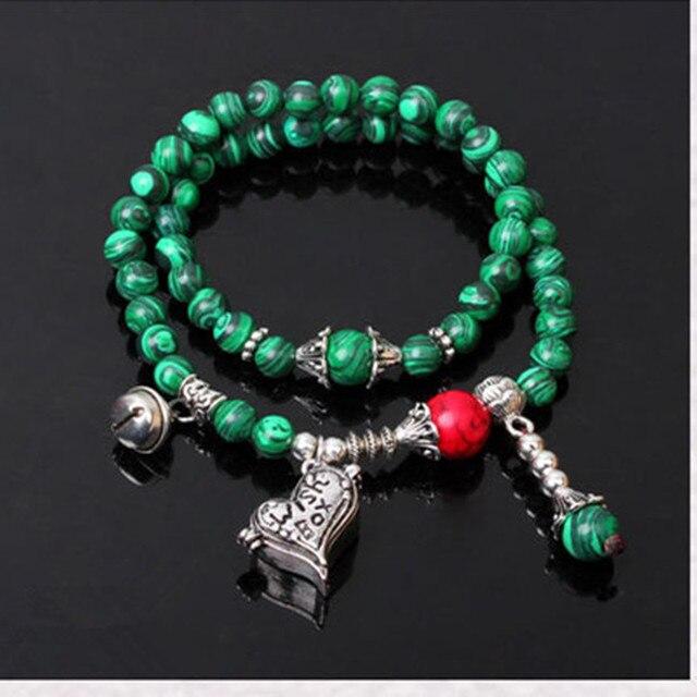 Ubeauty Непал 6 мм малахит каменных бус Буддийский браслет джапа мала йога Медитация женщины наручные браслеты