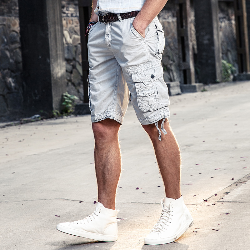 New Brand Summer Camo Plain Loose Cargo   Shorts   For Men Cotton Casual Men's   Short   Trousers Comfortable Clothing No Belt 12 Colors