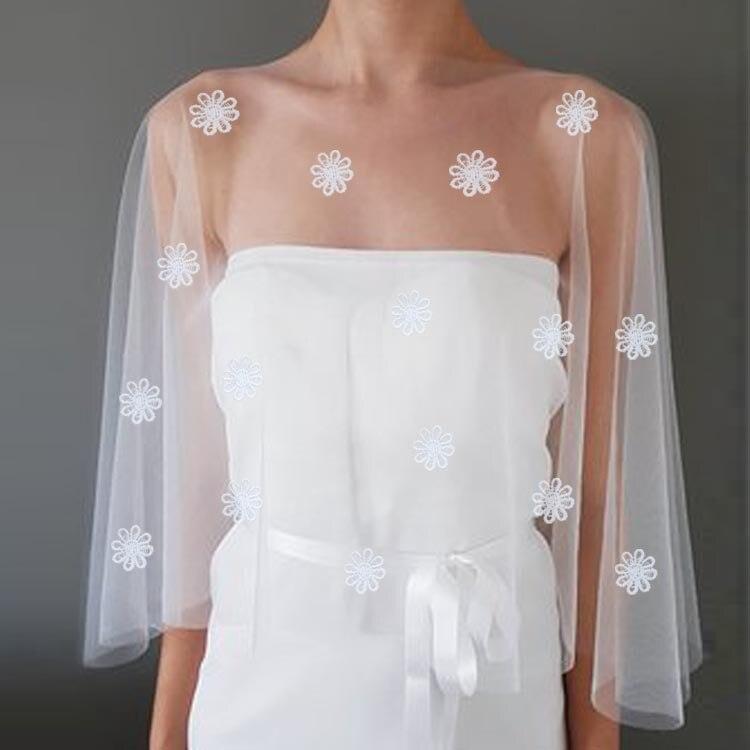 Simple Elegant Lace Flowers Wedding Wraps Bolero bridal jacket ivory wedding jacket Wedding Accessories 2019