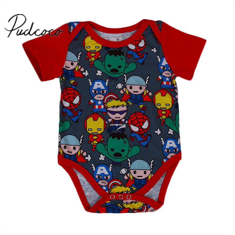 Newborn Infant Baby Boy Clothes Cute Cartoon Print   Romper   2017 New Summer Clothes Outfits 0-18M