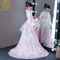 Winter Long Sleeved Tailing Children S Princess Dress Beauty Contest Stage Costumes Birthday Host Flower Girl