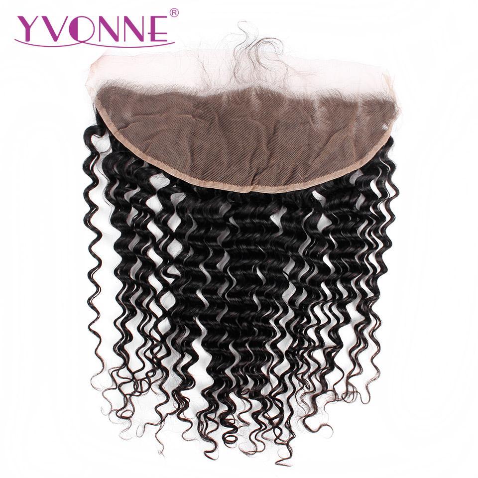 YVONNE Virgin Brazilian Deep Wave Lace Frontal 13x4 Natural Color 100% Human Hair Products