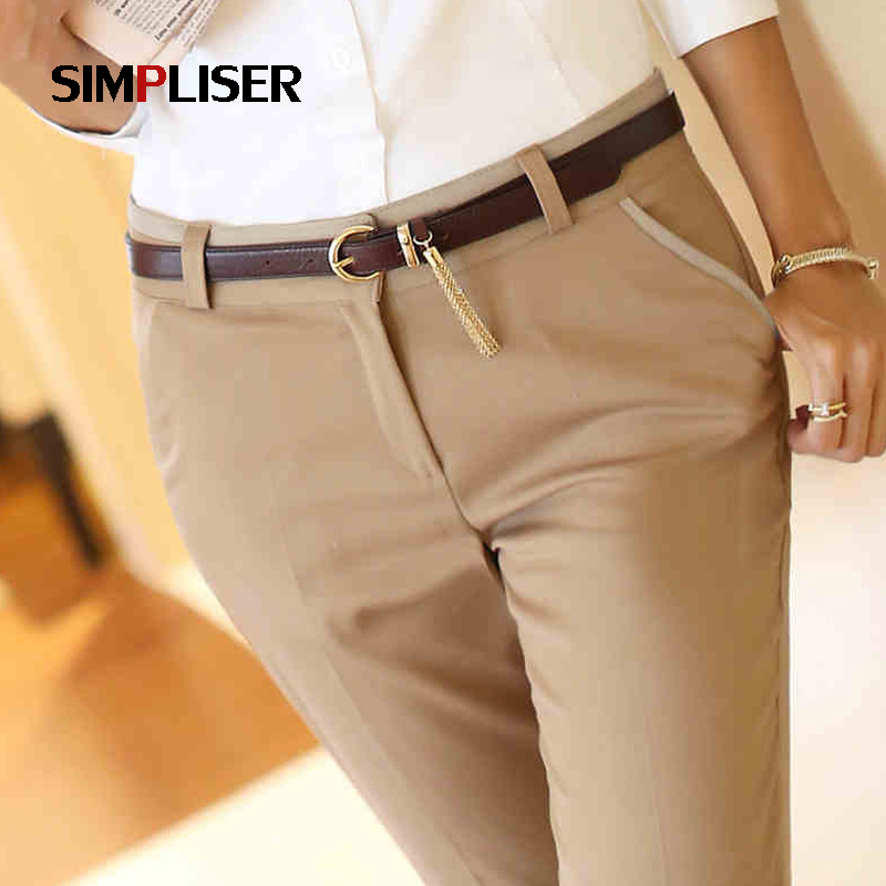 SIMPLISER Plus Size 3xl Women Suit Trousers Woman Work Pants Office Wear Business Pants Black Khaki Femme Pantalon Pencil Pants