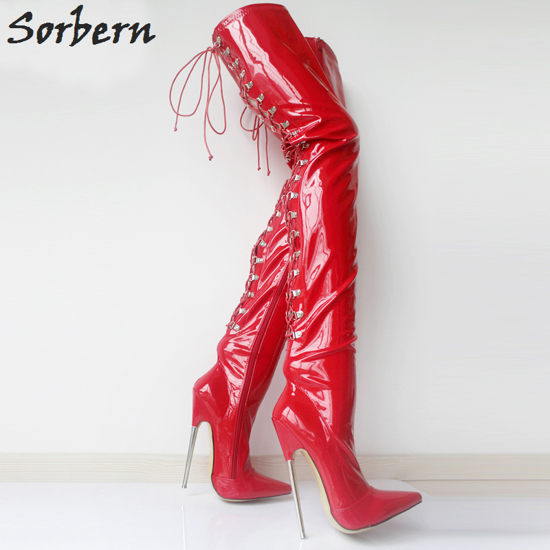 Sorbern Women Long Boots Sexy Pointed Toe 18cm High Heels Fashion Metal Thin Heels Cross tied Over Knee Thigh High Dancing Party