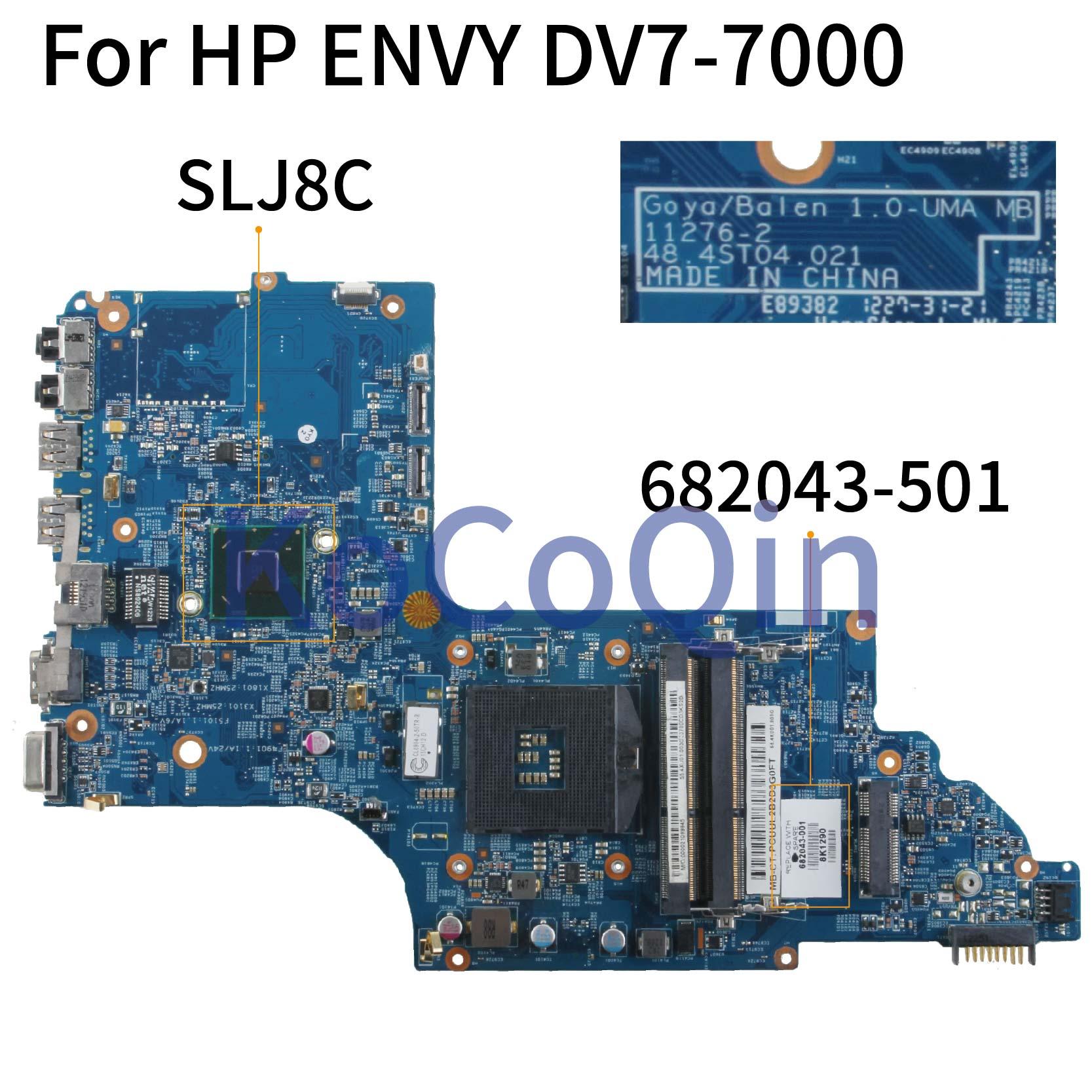 KoCoQin carte mère D'ordinateur Portable Pour HP ENVY DV7 DV7T DV7-7000 HM77 Carte Mère 682043-001 682043-501 11276-2 48.4ST04.021 SLJ8C