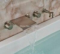 Wasserfall Wandmontage Badewanne Wasserhahn 3 Knöpfe Mischbatterie W/Handbrause Nickel Gebürstet
