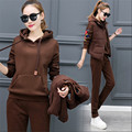 School uniforms female Large size 3Piece set Women Tops + Vest + Long pants Three-piece Hooded Add wool Autumn Track suit BN1834