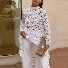 SuperAen Europe Fashion Women Shirt Solid Color Long Sleeve