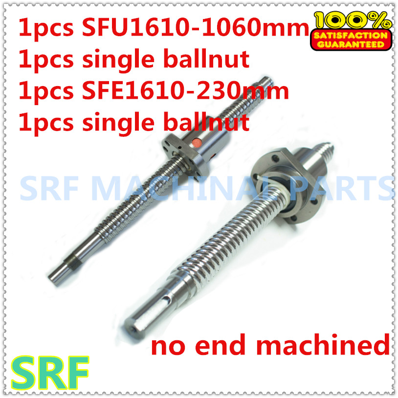 Rolled Ballscrew sets: 1pcs SFE1616 High lead Ball screw L=230mm+1pcs SFE1610 ballnut+1pcs SFU1610 L=1060mm+1pcs SFU1610 ballnut sfu1610 silver tone metal 10mm lead 300mm length ball screw