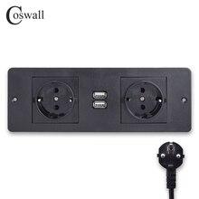 COSWALL Double EU Standard Power Outlet 2 USB Charging Port Kitchen Table Desktop Socket Furniture Power Distribution Units