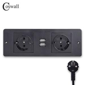 Image 1 - Coswall 더블 eu 표준 전원 콘센트 2 usb 충전 포트 주방 테이블 데스크탑 소켓 가구 배전 장치