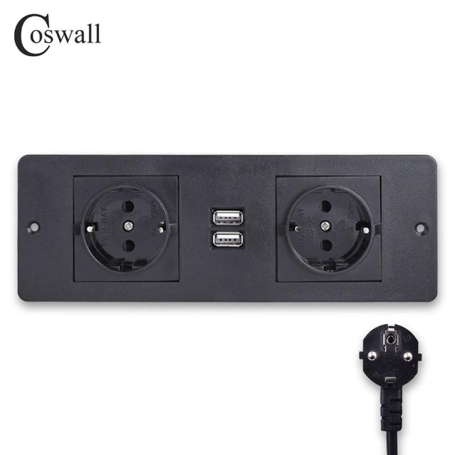 Coswall 더블 eu 표준 전원 콘센트 2 usb 충전 포트 주방 테이블 데스크탑 소켓 가구 배전 장치