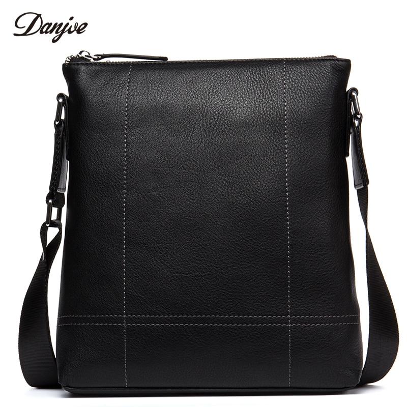 все цены на DANJUE Genuine Leather Male Messenger Bag Vertical Black Shoulder Bag Leisure Daily Business Bag Casual Leather Crossbody Bag