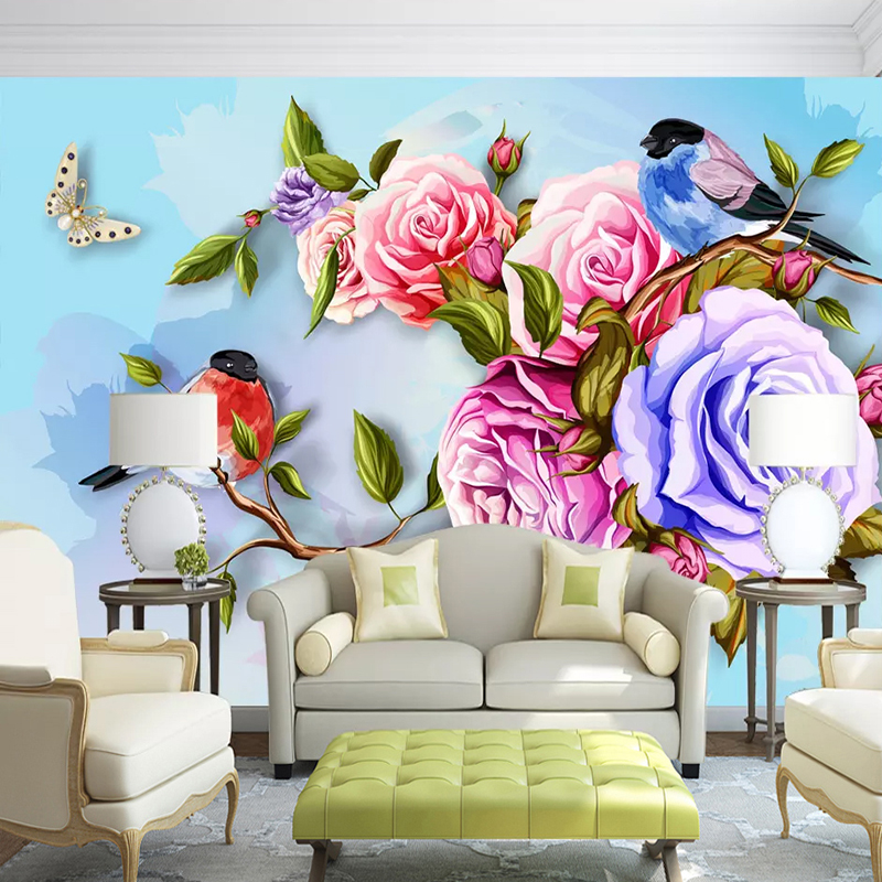 Us 9 23 45 Off Custom 3d Wallpaper For Walls Abstract Hand Painted Flower Bird Butterfly Art Oil Painting Mural Wallpaper Living Room Bedroom In