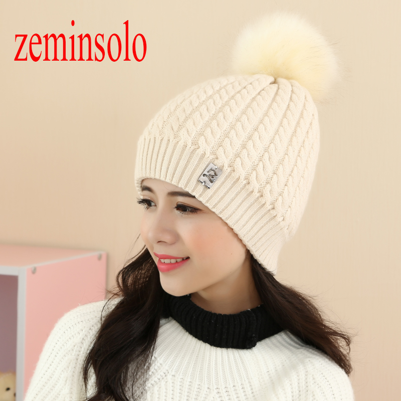 New Autumn Winter Women's Caps Hats Real Fox Fur Ball Pom Poms Hat For Women Wool Cap Female Thick Ear Warm Beanies Skullies Hat