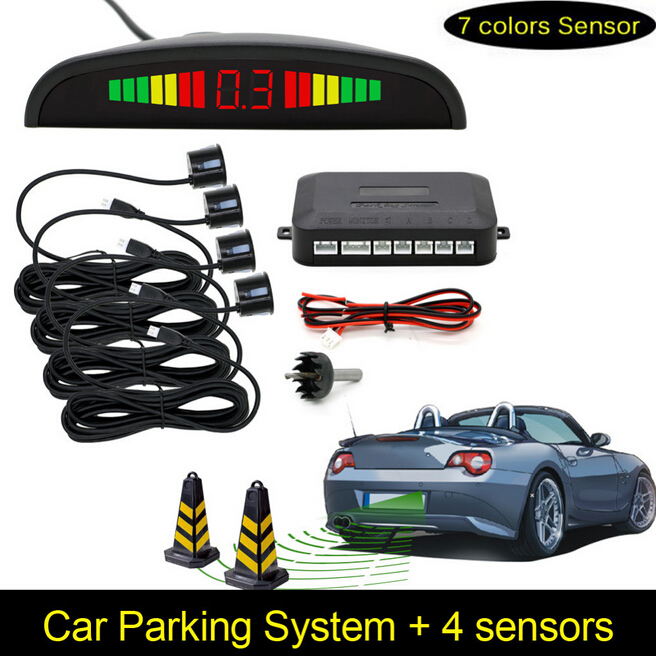 Car Parking Sensors Parktronics 4 Black silver white 13mm Adjustable Flat Sensors Reverse Backup Radar Sound Buzzer Alarm 008