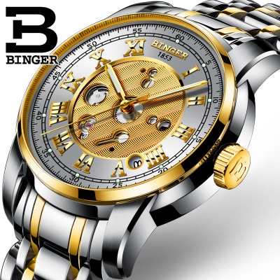 BINGER original luxury brand new tourbillon automatic mechanical watches men's fashion leisure leather sports watches relojes binger genuine gold automatic mechanical watches female form women dress fashion casual brand luxury wristwatch original box